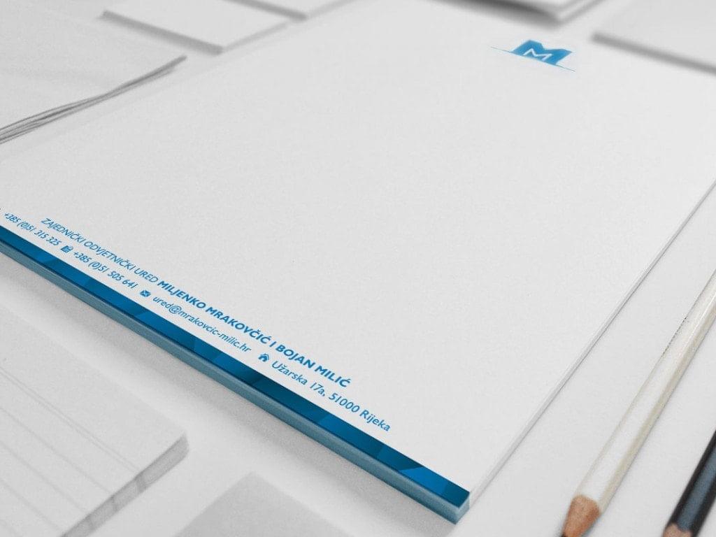 Dizajn vizualnog identiteta dizajn memoranduma Odvjetnički ured