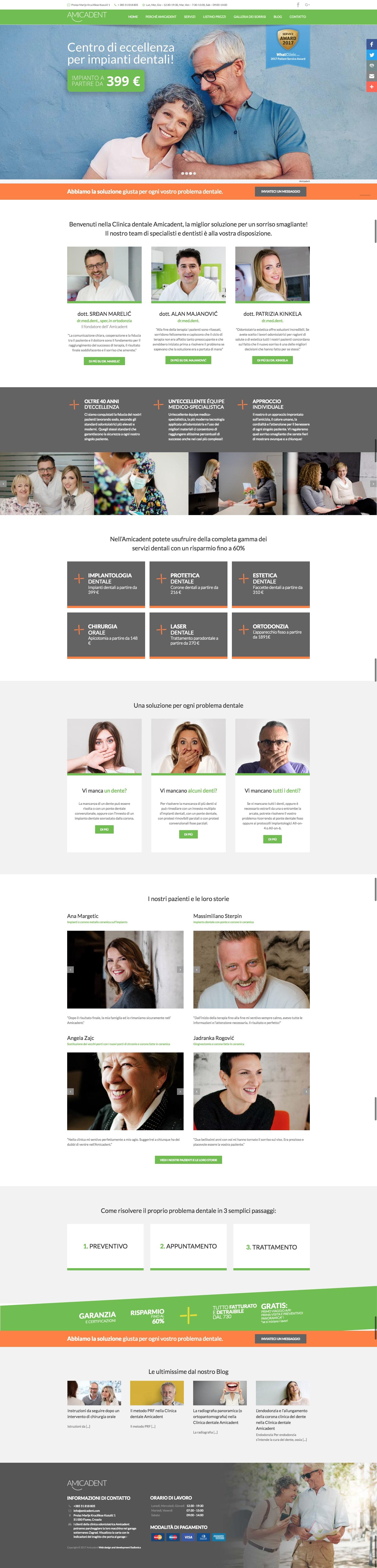 izrada web stranice Amicadent